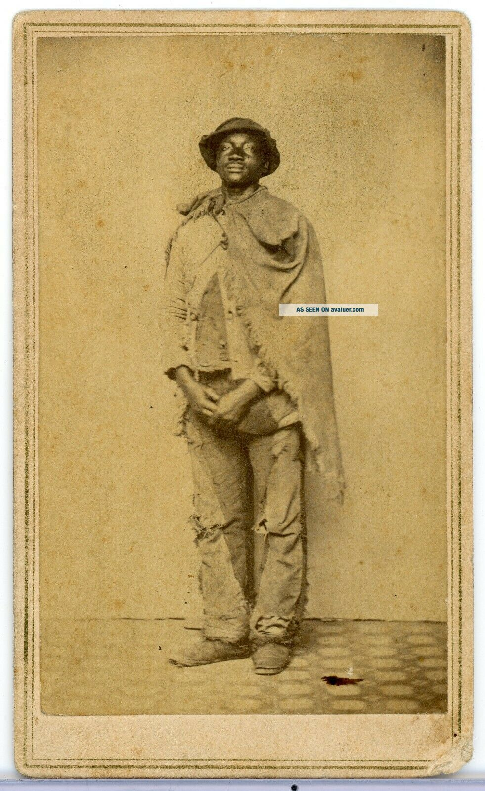 RARE CDV CIVIL WAR AFRICAN AMERICAN CONTRABAND & HORACE JAMES OFFICER 25TH MA
