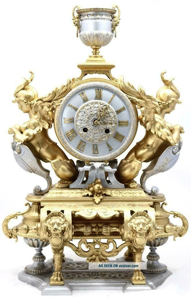 Large Antique Mantle Clock French 8 Day Stunning 2 Tone 2 Figural Gilt C1880
