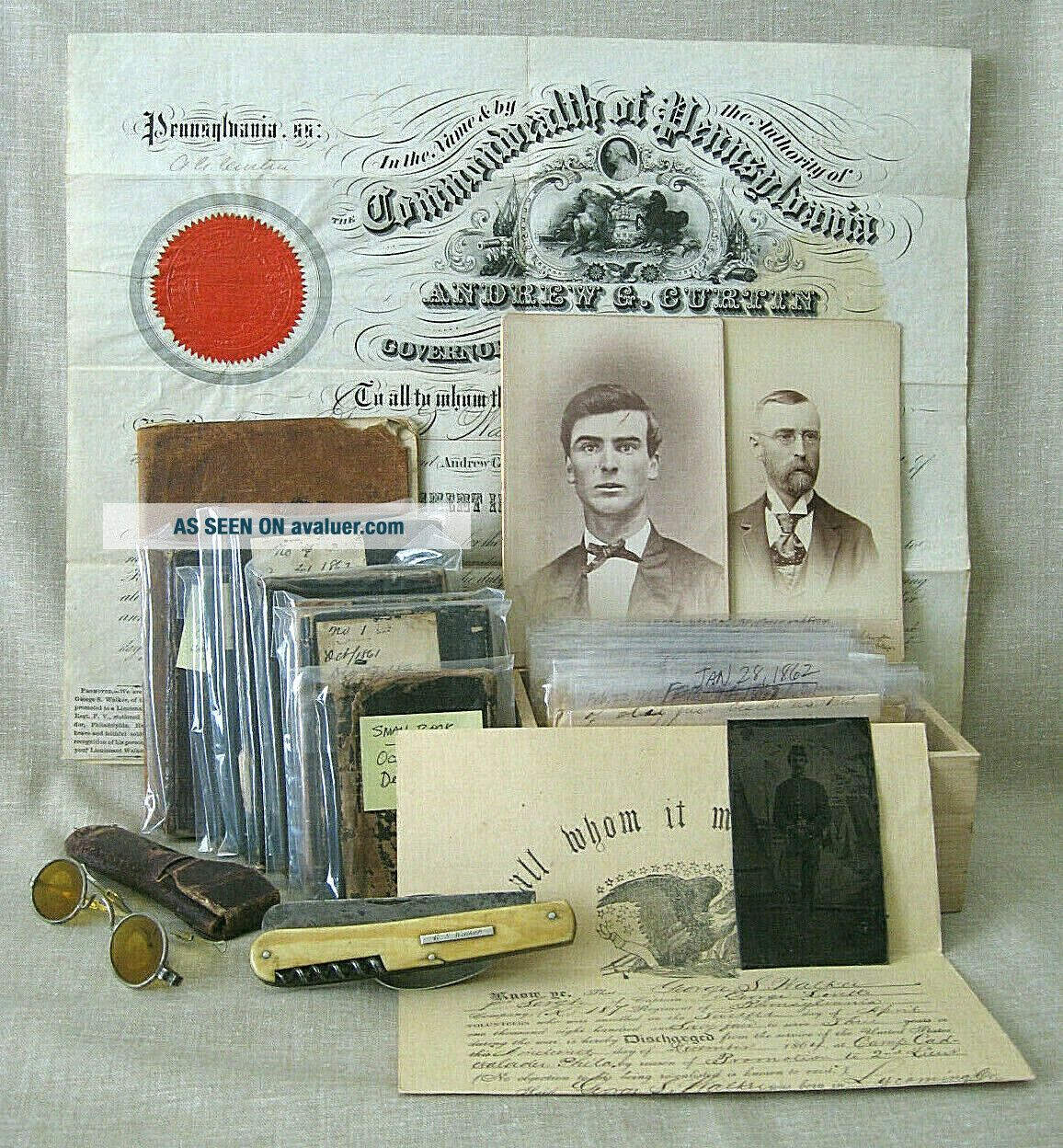 Civil War Archive of George S.  Walker / diaries,  discharges,  photos,  knife,  etc.
