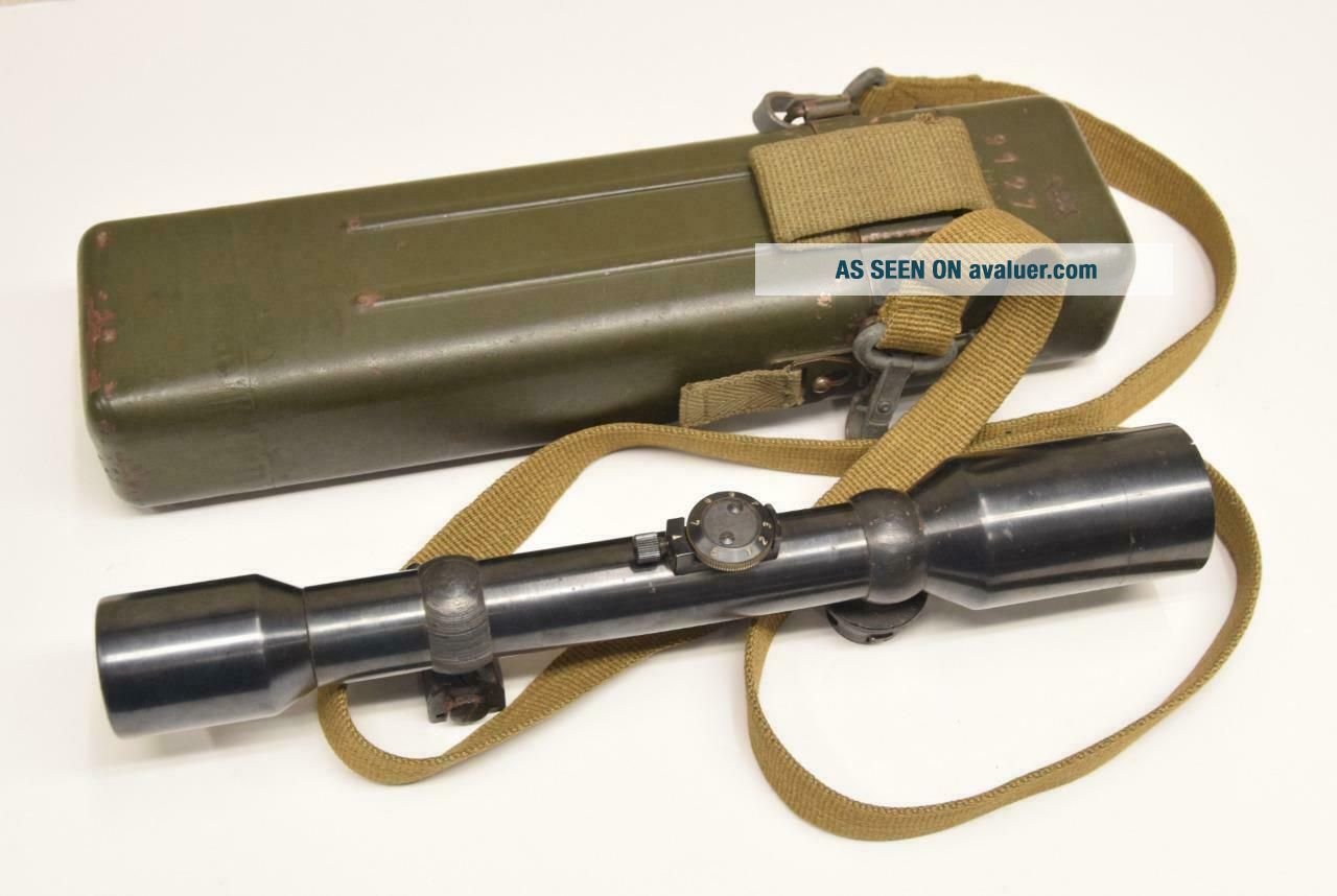 WWII German AJACK 4 x 90 ZF39 K98 Sniper Scope w/ Case / Container