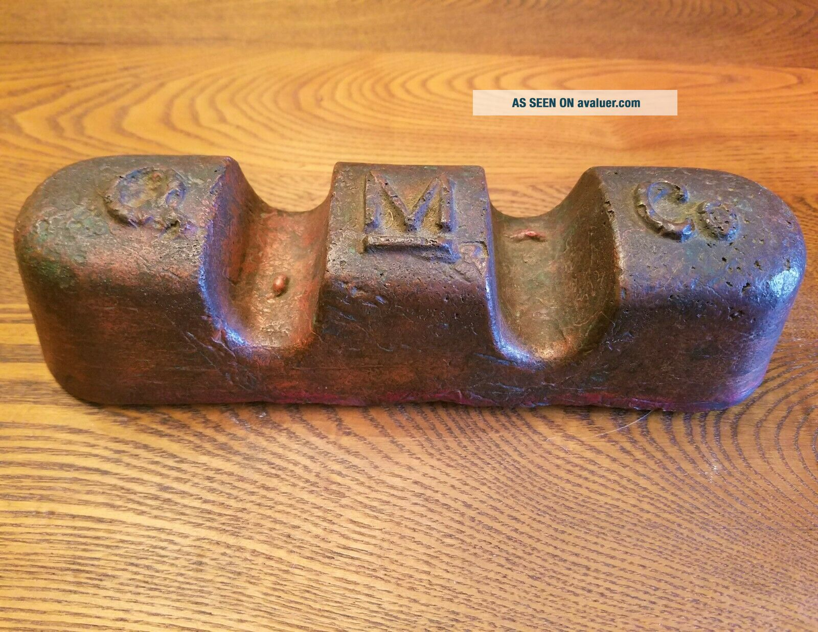 ANTIQUE 10 COPPER INGOT QUINCY MINING COMPANY INGOT HANCOCK MICHIGAN