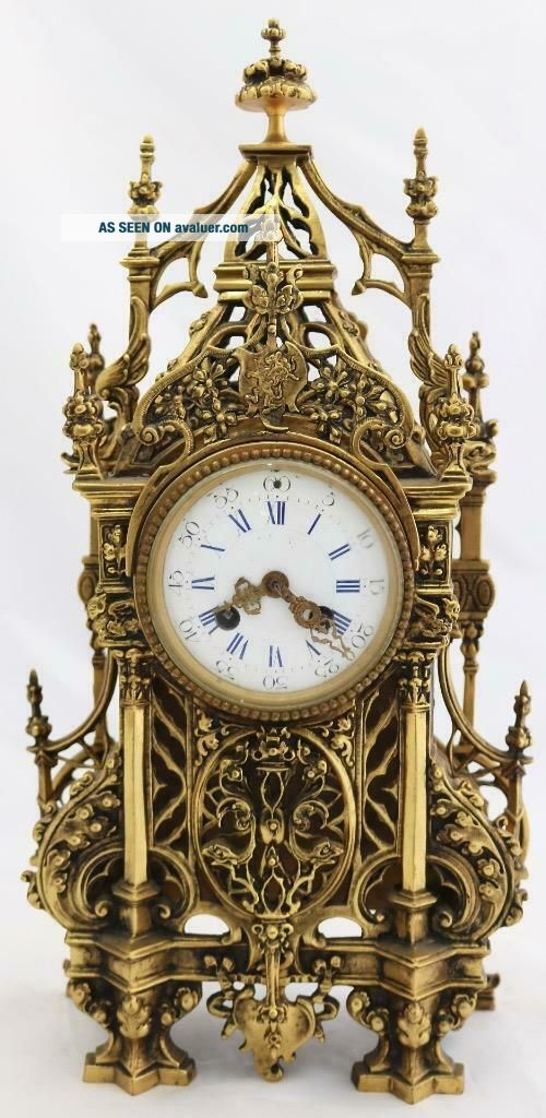 Antique French Mantle Clock 1880 Embossed Pierced Bronze Striking 8Day