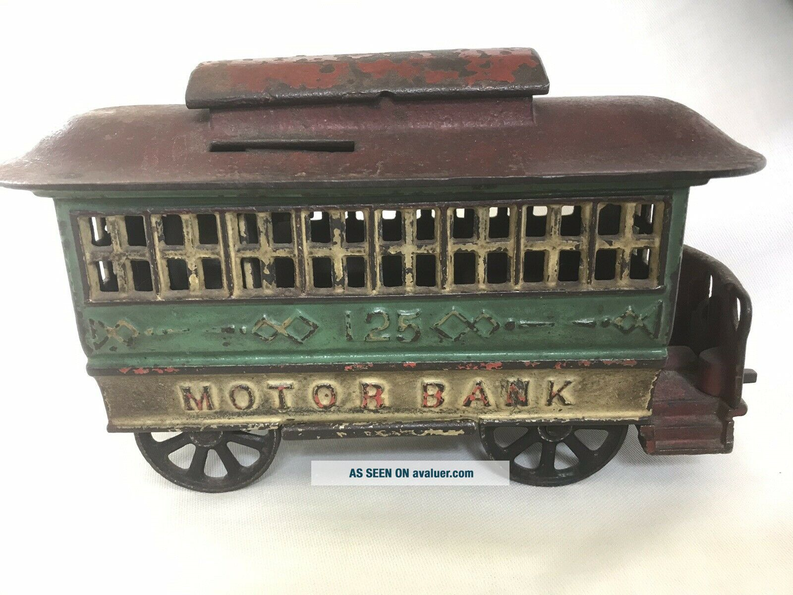 "Antique Cast Iron Mechanical Bank – Alfred C.  Rex 1889 – ""Motor Bank"""