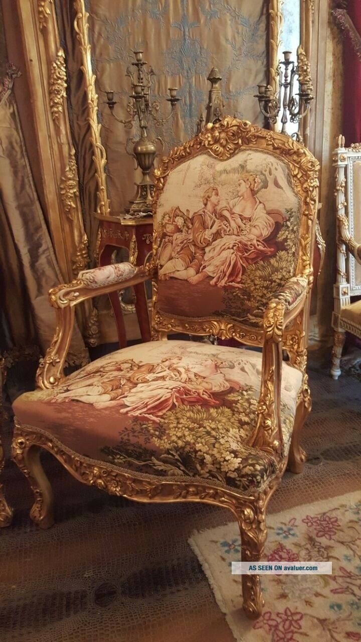 Romeo and Juliet,  French Antique Style,  Hand Carved,  Gold Leaf,  Living Room Set