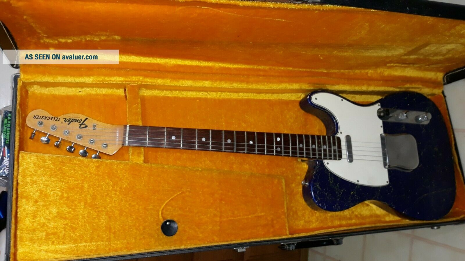 Vintage 1968 Fender Telecaster Metallic Blue Guitar w/ Case