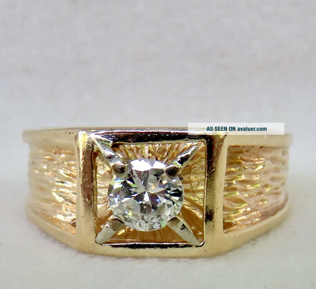 MENS VINTAGE ARTS & CRAFTS.  55 CT.  OLD EUROPEAN DIAMOND SOLITAIRE 14K GOLD RING