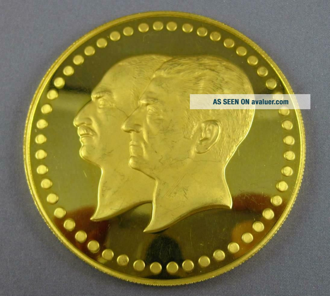 EXTRA LARGE 22KT YELLOW GOLD FIFTIETH ANNIVERSARY PAHLAVI MIDDLE EASTERN COIN