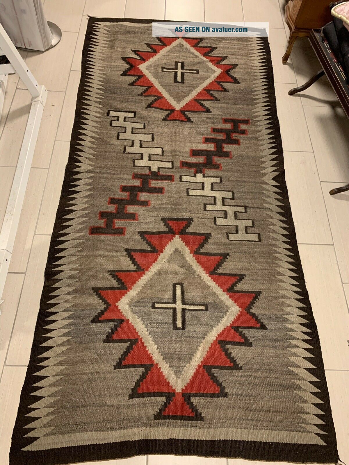 Antique 1800's Native American Navajo Hand Knit Rug