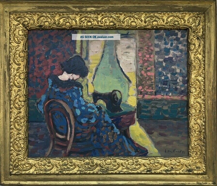 E.  Vuillard 97 signed antique oil / board painting French?