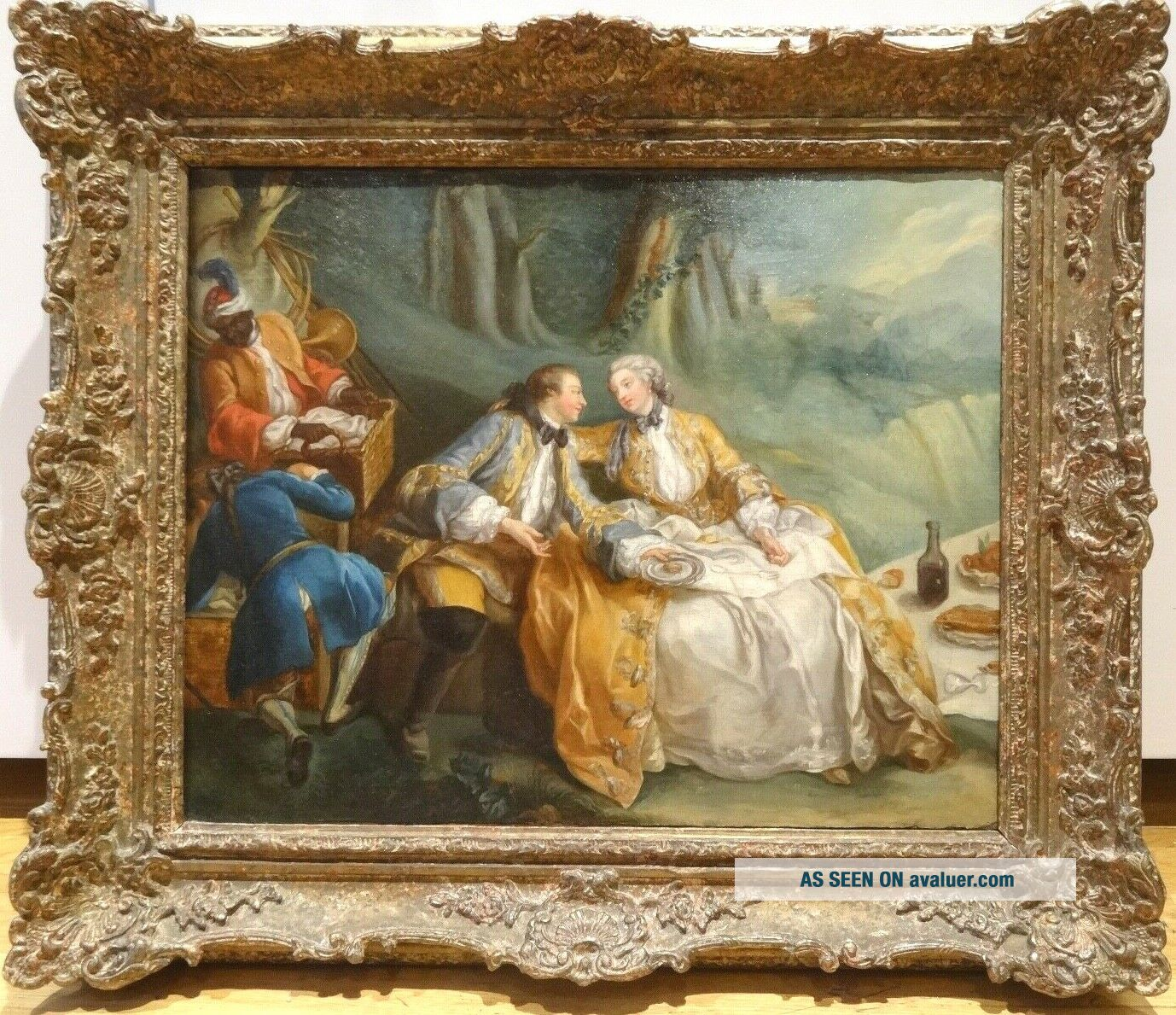 18th Century French Lover Picnic Fete Champetre Antique Oil Painting Fragonard