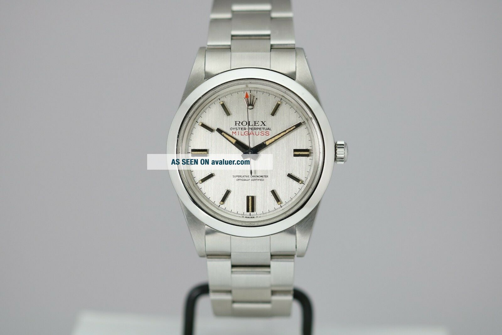 Vintage Rolex Milgauss Automatic Silver Dial Watch Ref 1019 Circa 1960s