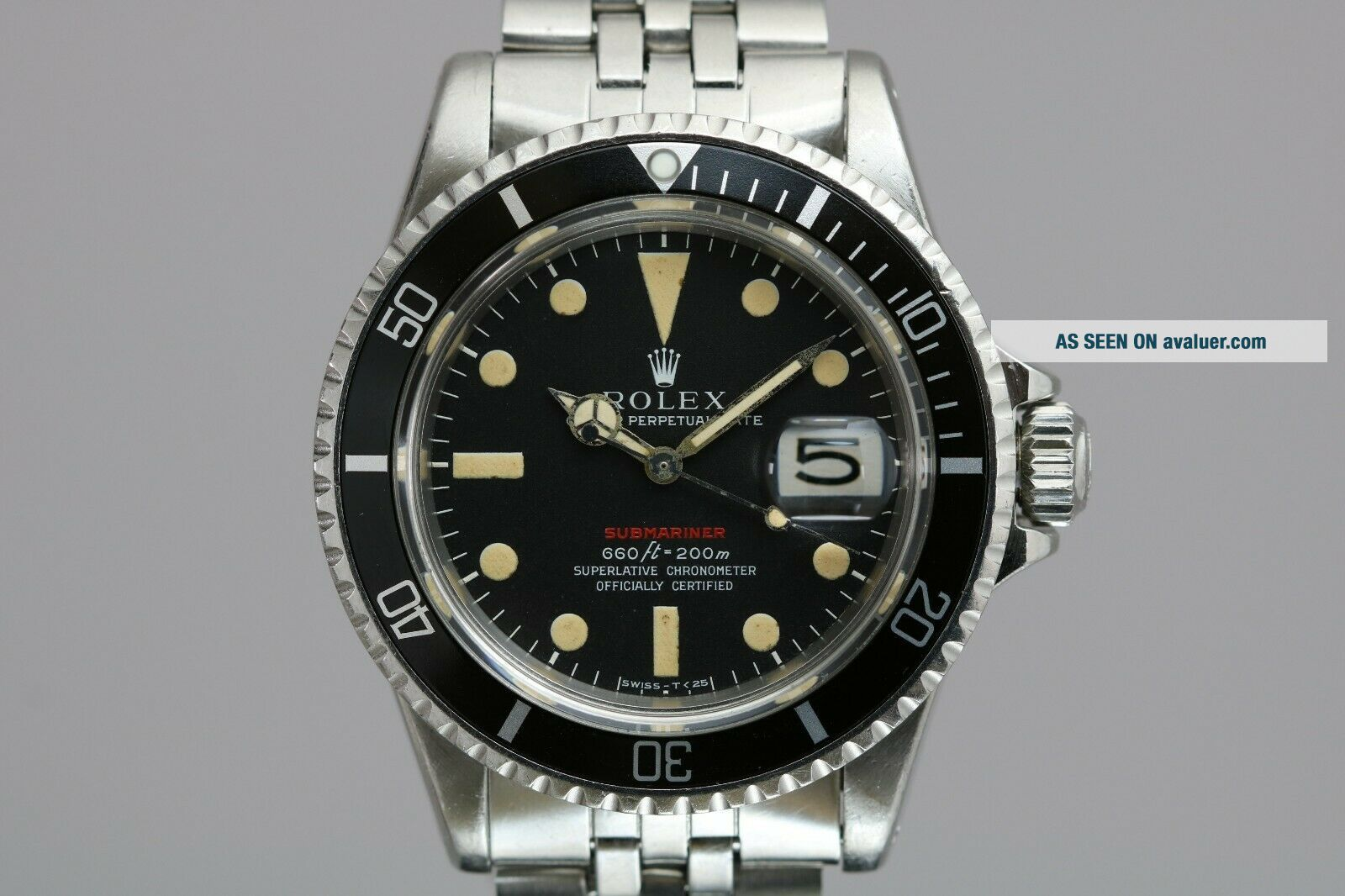 "Rolex Submariner 1680 ""Red Sub"" Vintage Automatic Dive Watch Circa 1970s"