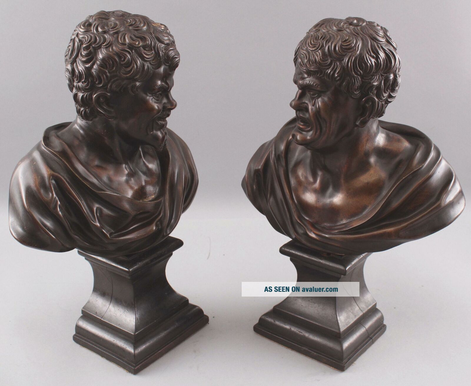 Pair Antique 19thC Theater,  Comedy & Tragedy Bronze Bust Sculptures,  NR