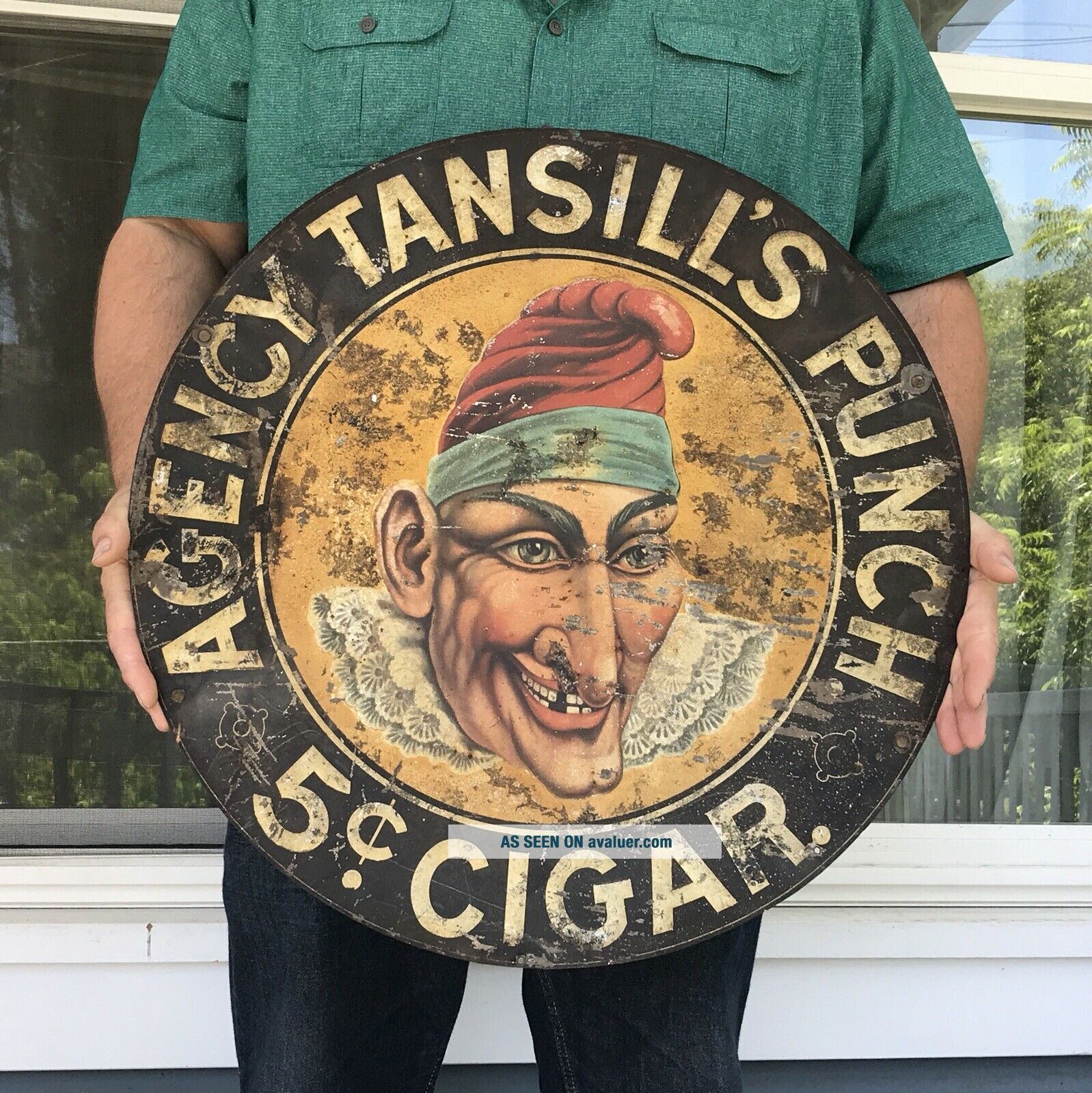 Antique 24 Inch Round Agency Tansill's Punch 5 Cent Cigar Metal Tin Sign