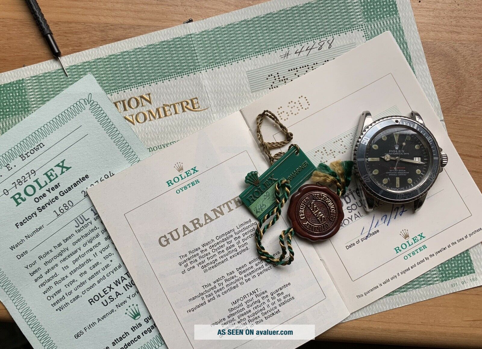 1970's Vintage Rolex Submariner Ref.  1680 Red MK4 Full Set Double Punched Papers