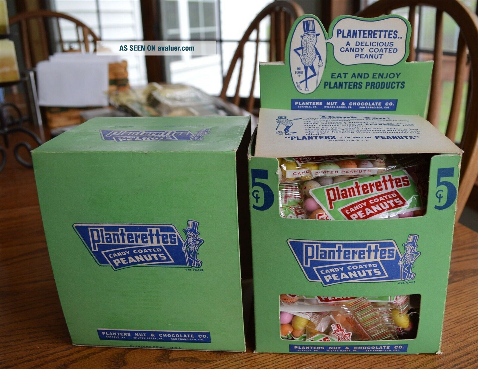 RARE Antique Planters Peanuts FULL Display Box 24 bags Candy Coated Peanuts