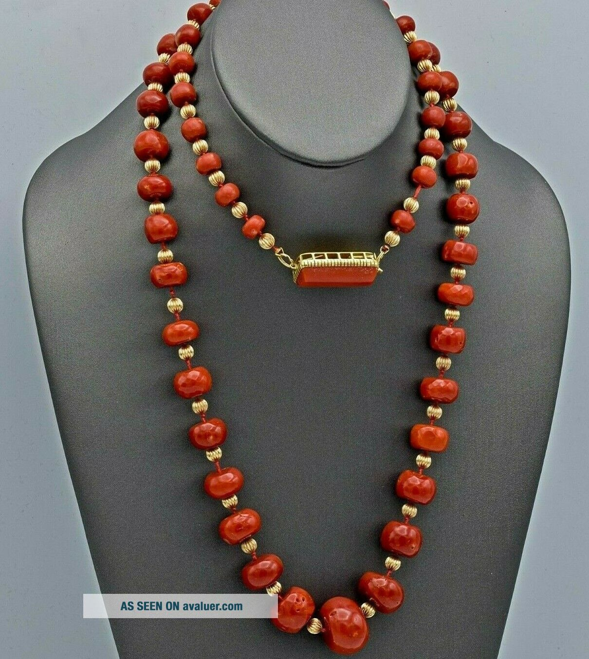 Vintage 14K Yellow Gold Red Coral Graduated Beaded Strand Necklace 147.  6 Grams