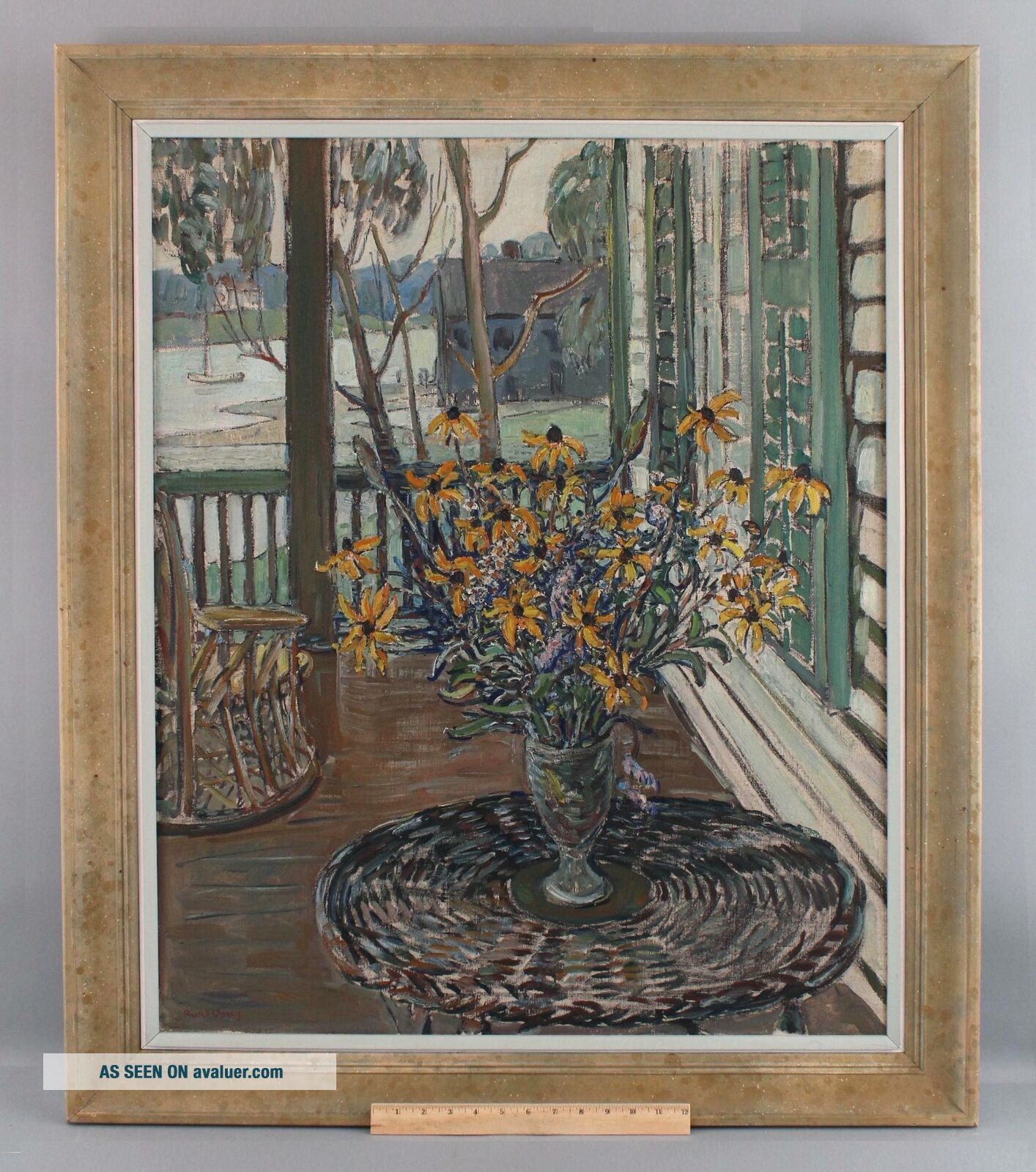 Lrg Antique RUSSELL CHENEY American Impressionist Still Life Flower Oil Painting