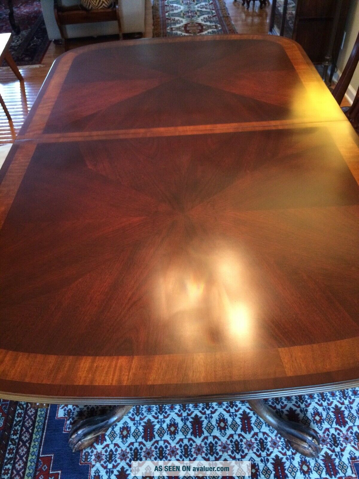 Antique dining room with 2 extender leaves,  set 8 chairs and table protector top