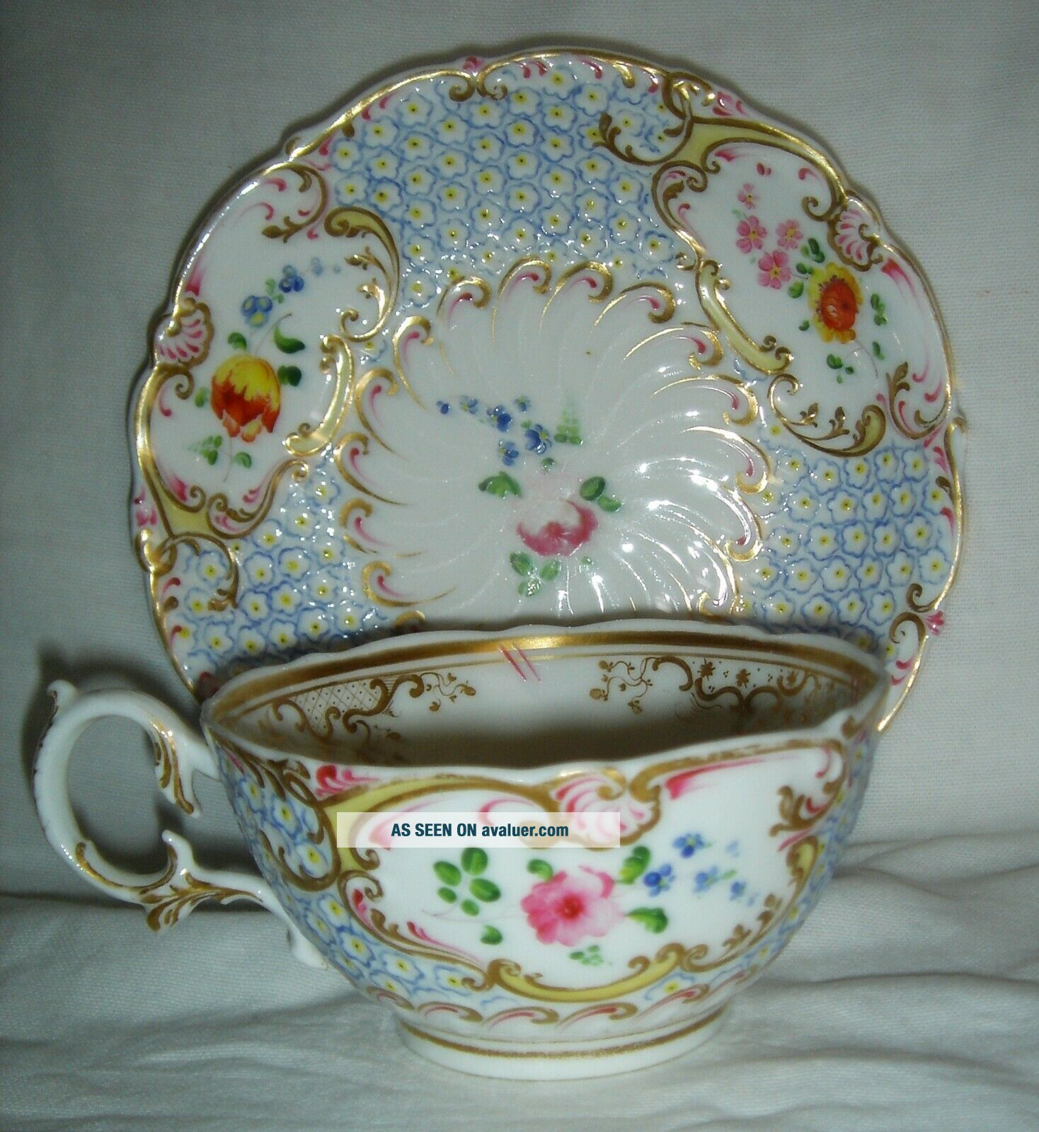 QUALITY ANTIQUE HR DANIEL MOULDED CUP & SAUCER HAND PAINTED FLOWERS 4630