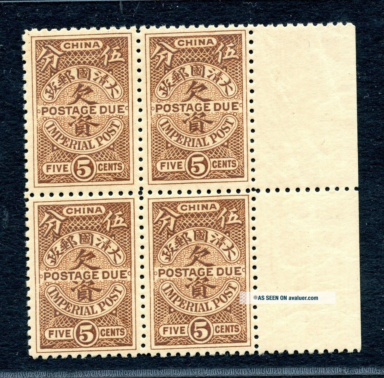 1911 Postage Due Unissued 5 cents block of 4 never hinged Chan DU3 RARE