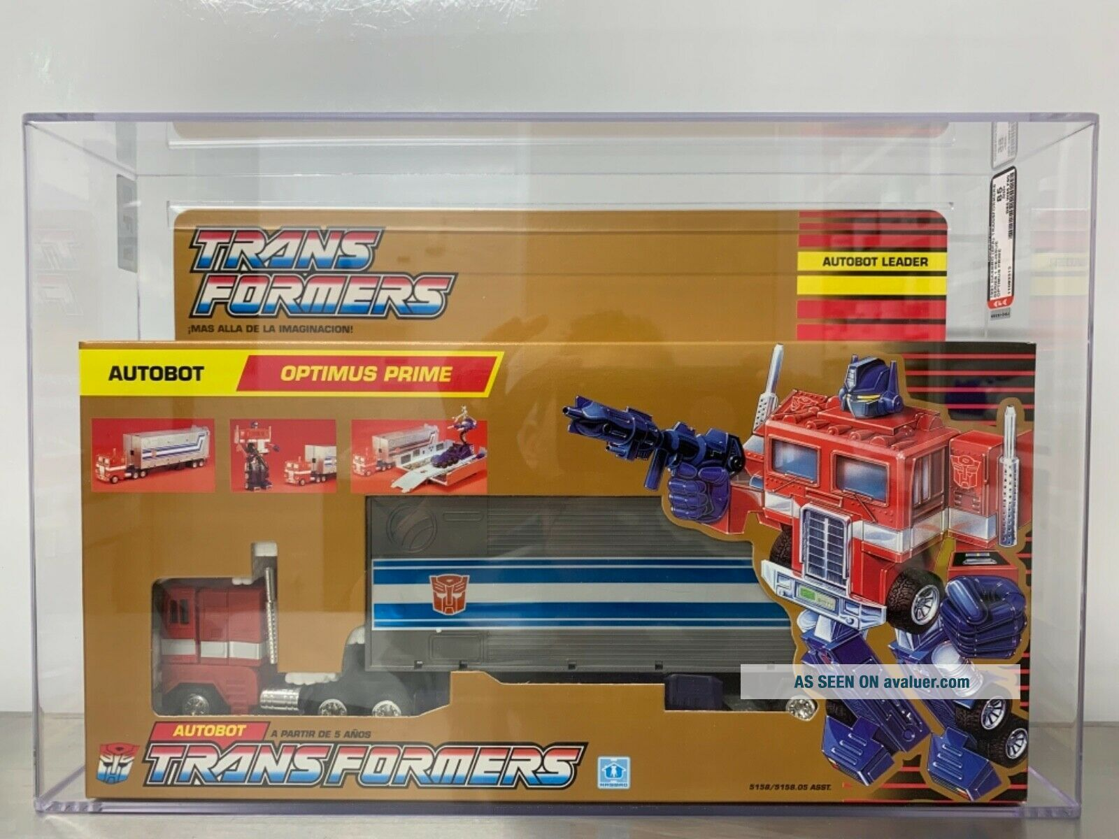 G1 Optimus Prime MISB AFA 85 NM,  85/85/90 Gold Box RARE Transformers