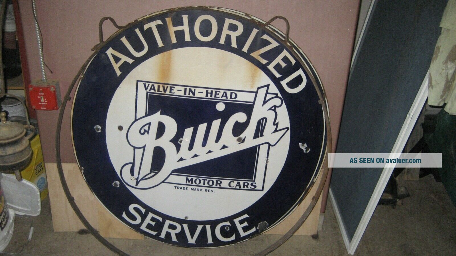 """42"""" BUICK PORCELAIN DOUBLE SIDED SIGN IN RING RARE"""
