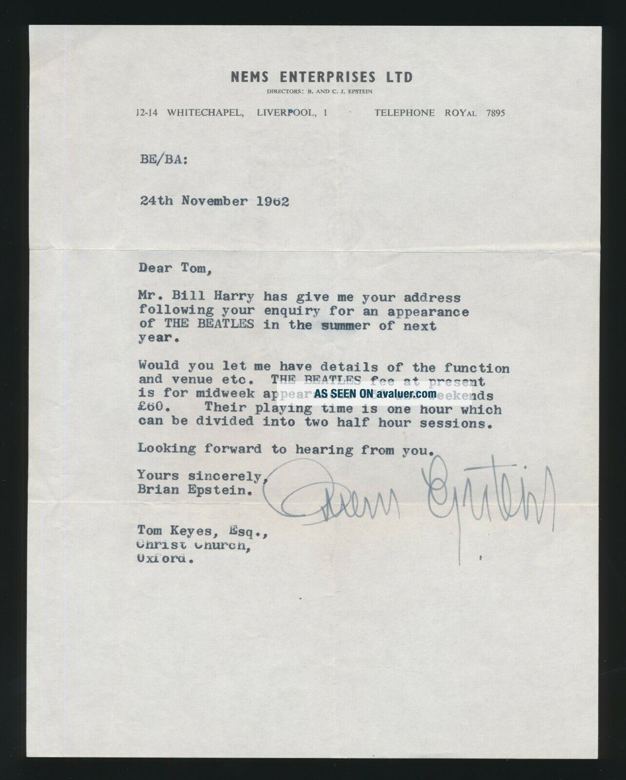 Beatles ULTRA RARE & HISTORIC 1962 BRIAN EPSTEIN SIGNED LETTER BEATLES SHOWS