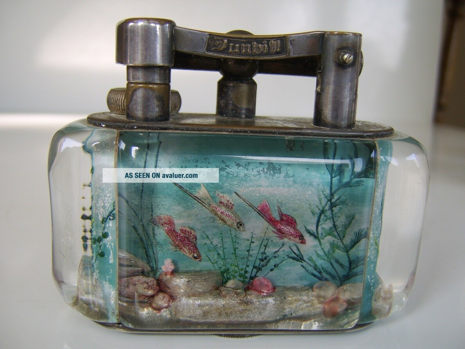 Rare Large Old Dunhill Aquarium Table Lighter Made in England Circa 1950s