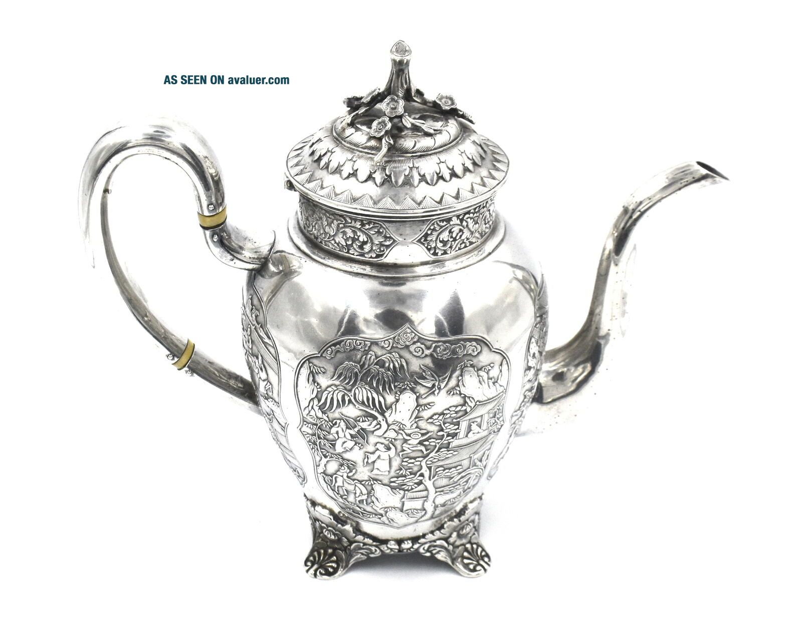 CHINESE EXPORT SILVER TEAPOT JAPANESE AESTHETIC KHECHEONG CANTON c1850