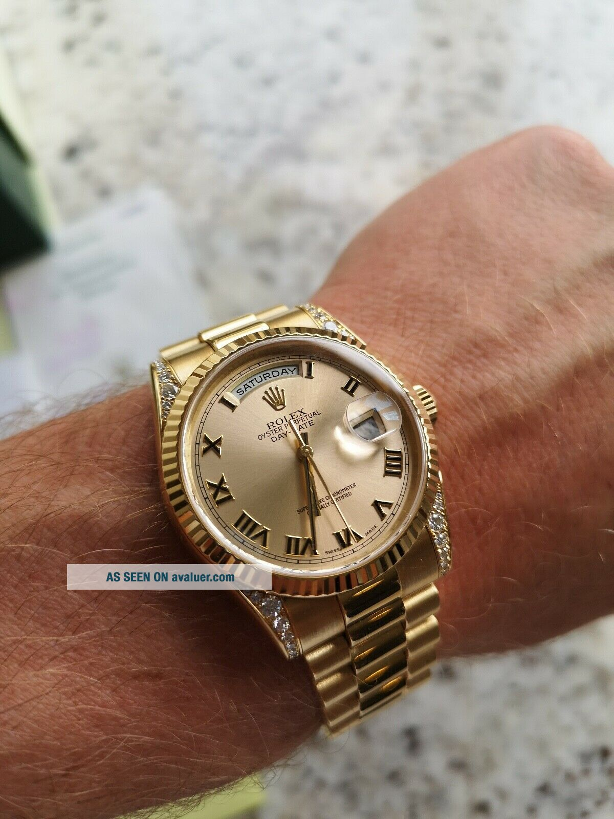 Rolex Day - Date 118338 18ct Gold Box Papers RARE Diamond Shoulders