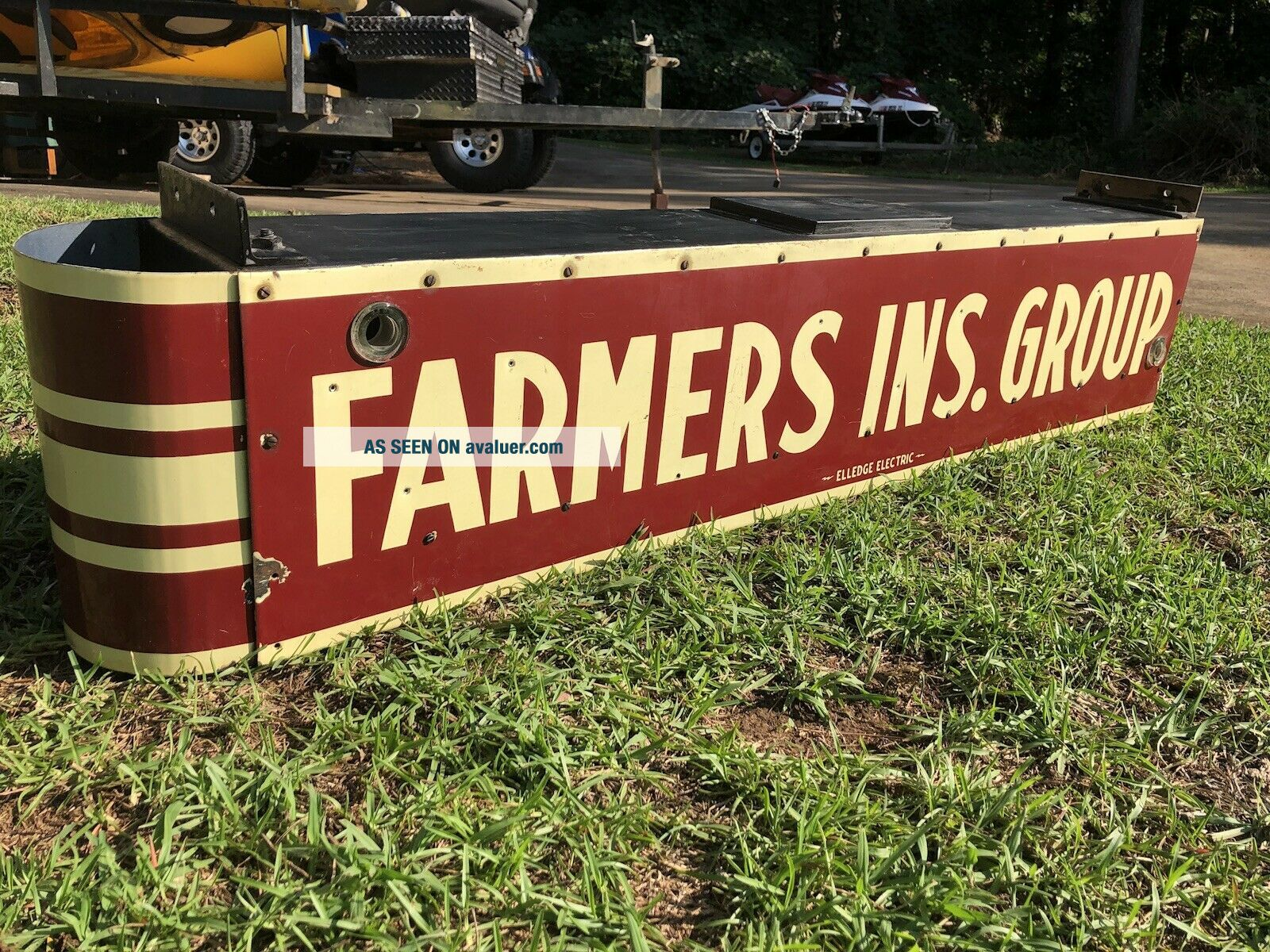 Vintage FARMERS Insurance Double Sided 6ft Porcelain Neon Can Sign