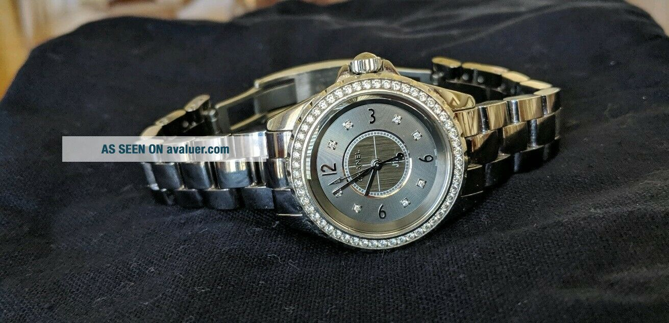 Chanel j 12 watch CHROMATIC CERAMIC with Factory Bezel Diamonds Authentic Rare