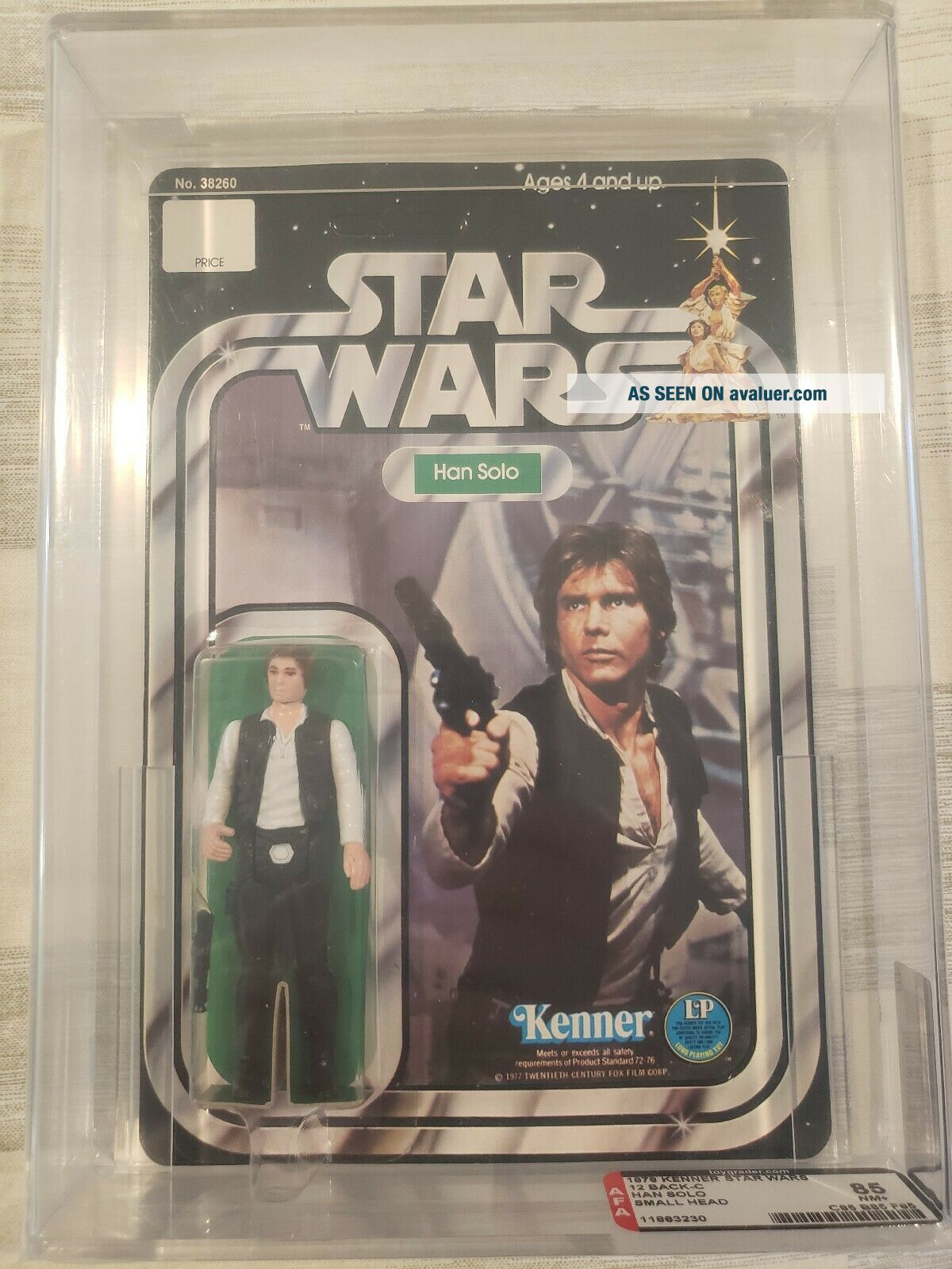 Vintage Star Wars 1978 Han Solo Small Head 12 Back - C AFA 85 (85,  85,  85) UNPUNCHED