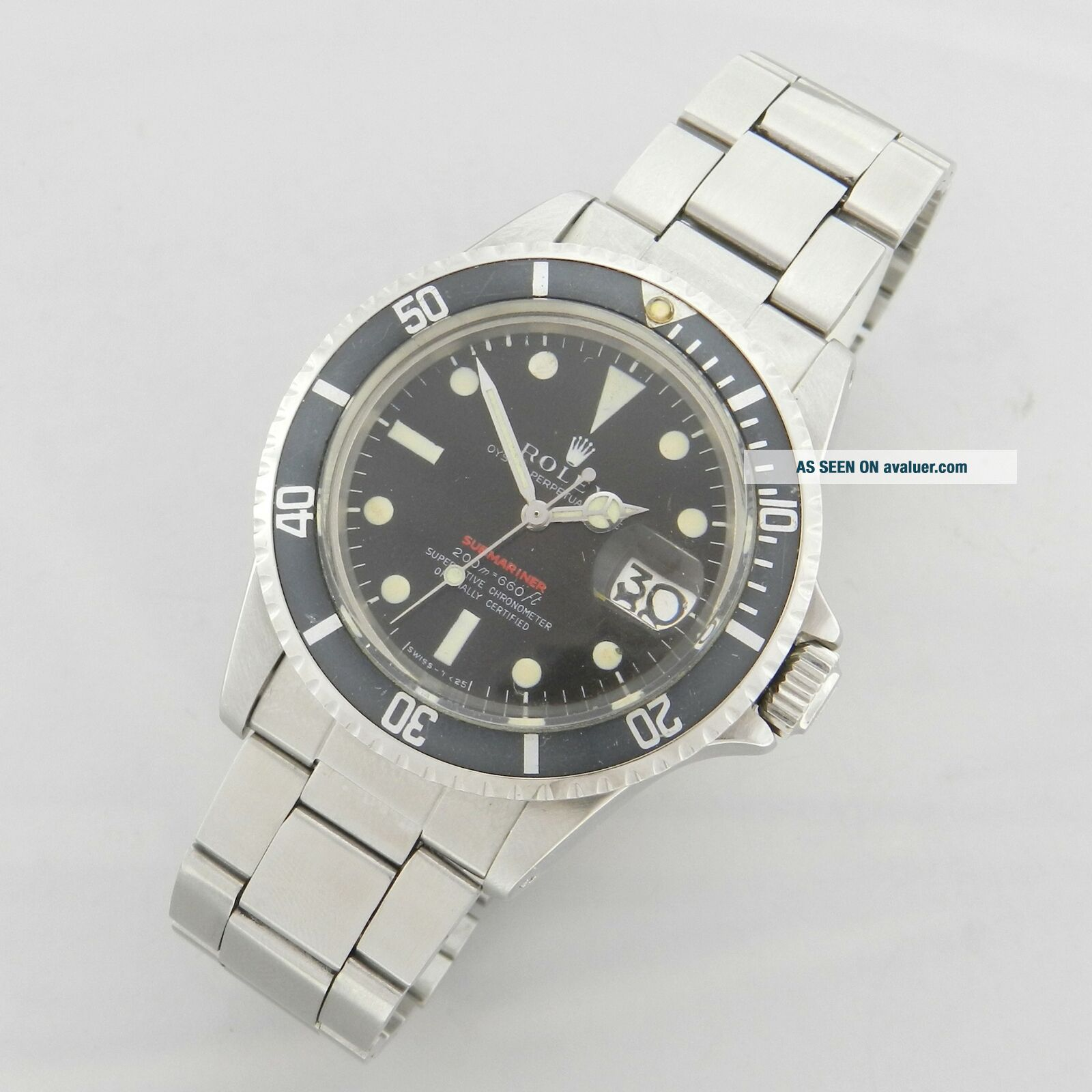 ROLEX RED SUBMARINER DATE 1680 VINTAGE WATCH 100 TROPICAL DIAL 1969