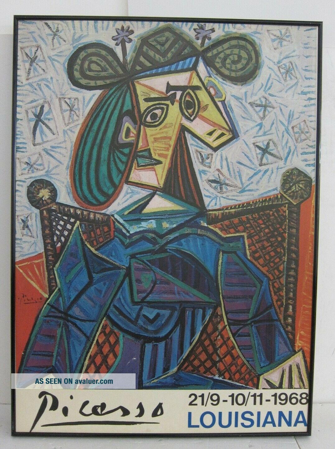 Picasso Woman in Armchair 1941 VTG Louisiana Exhibition Poster 1968 Framed 24x33