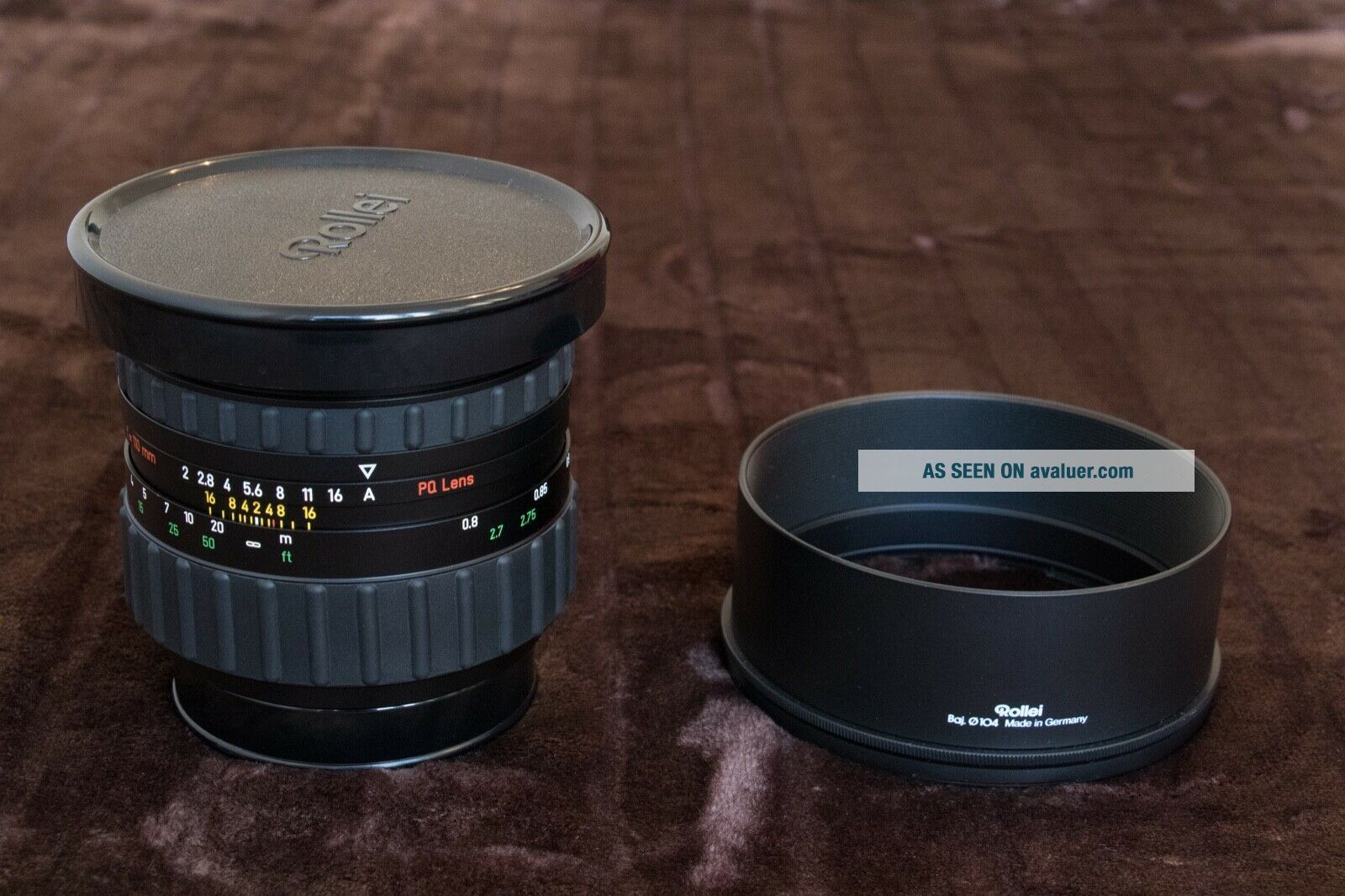 RARE Rollei Zeiss Planar 110mm f2 HFT PQ Lens & Both caps & Metal hood