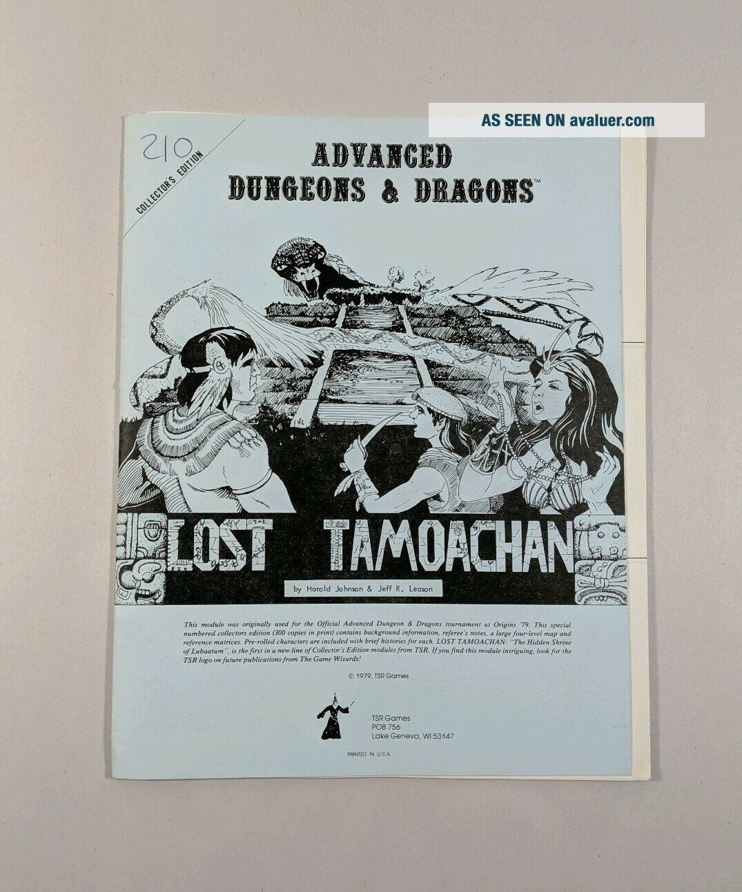 AD&D Lost Tamoachan Advanced Dungeons & Dragons TSR 1979 Vintage RARE Module