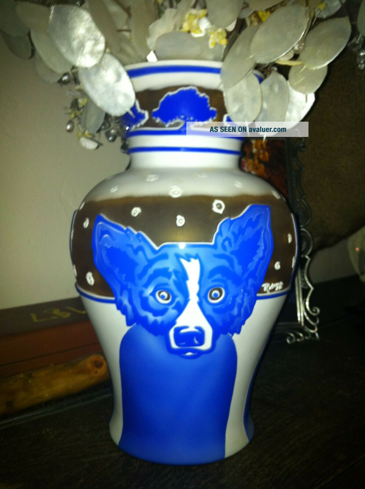 RARE George Rodrigue Pilgrim Blue Dog Vase - Winter Fest Cameo Glass 35