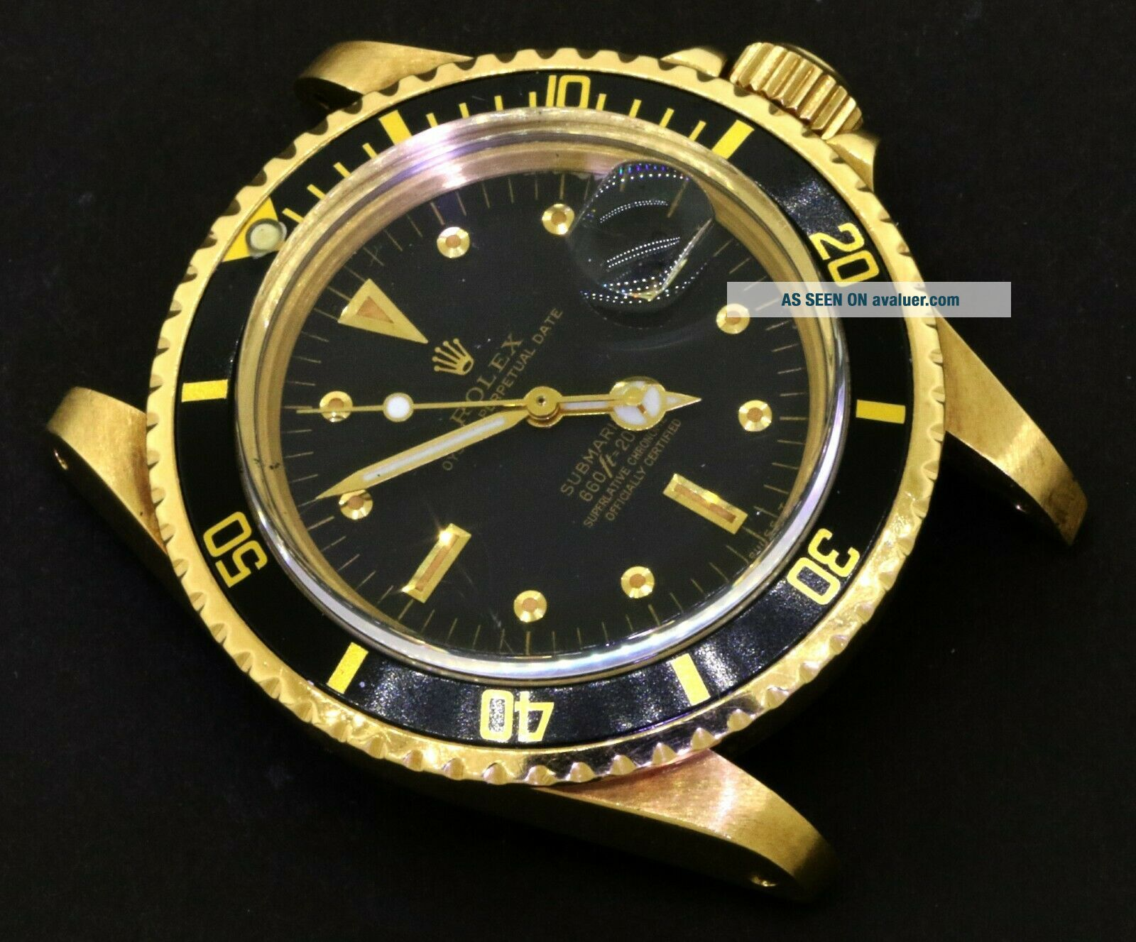 Rolex Submariner 1680 18K YG Rare Gilt nipple dial 5.  27mil serial watch head