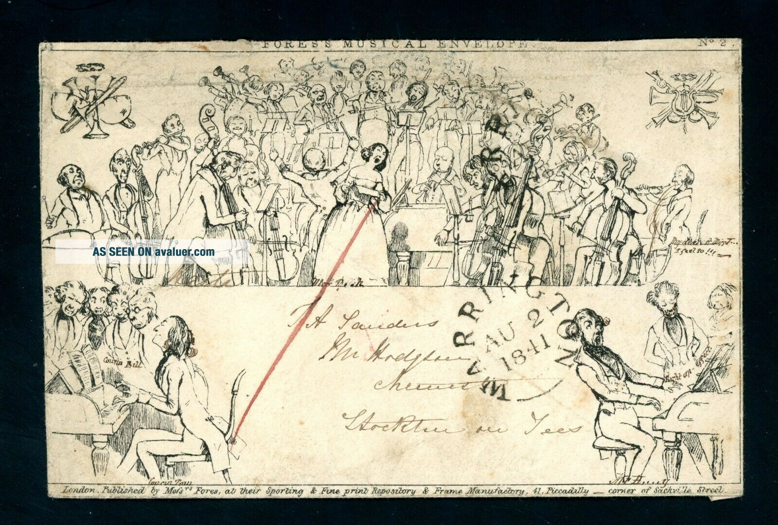 1841 Fores ' s Musical Caricature Warrington to Stockton on Tees,  Rare Item (J160)