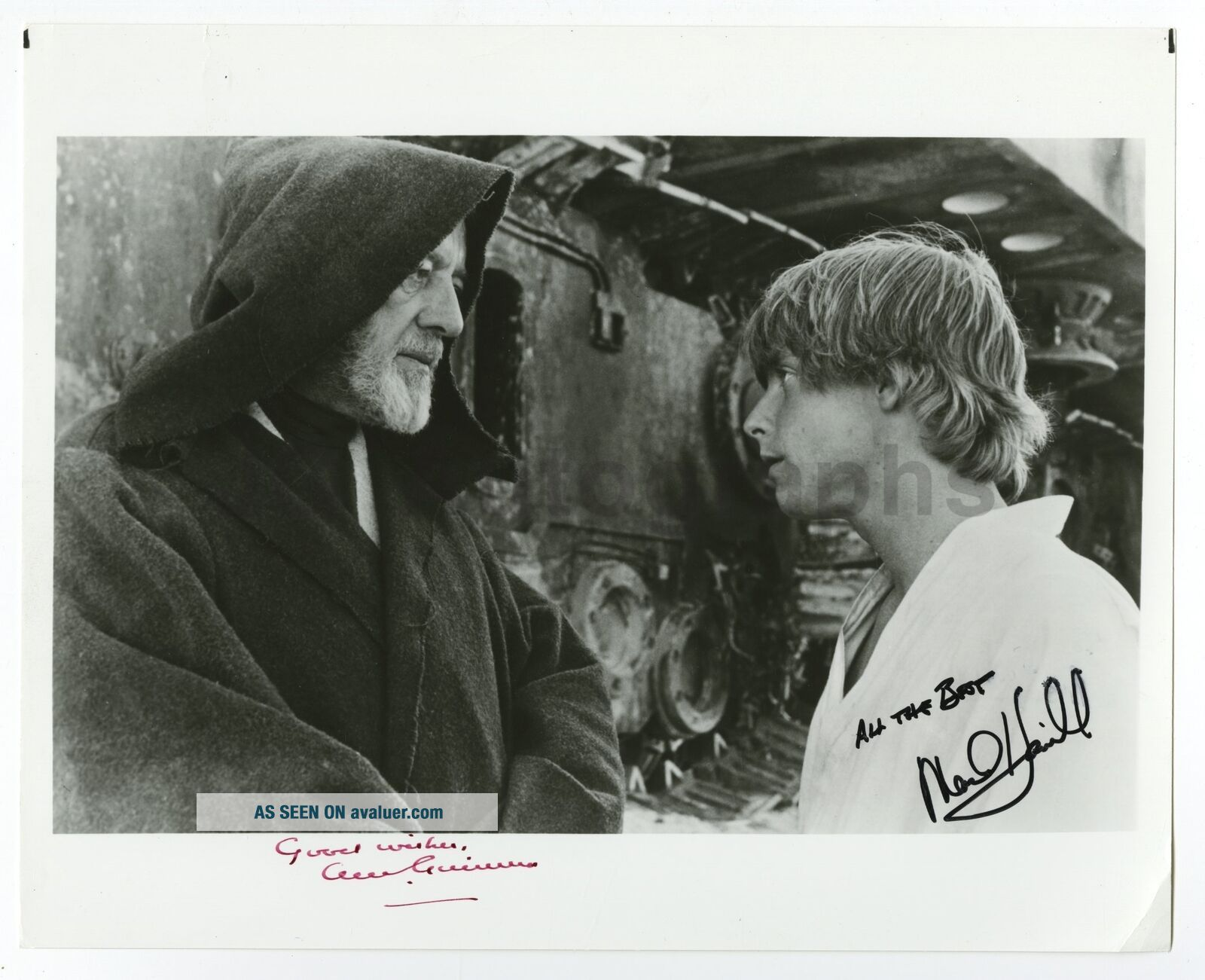 Star Wars - Vintage 8x10 Autographed by Alec Guinness and Mark Hamill - Scarce