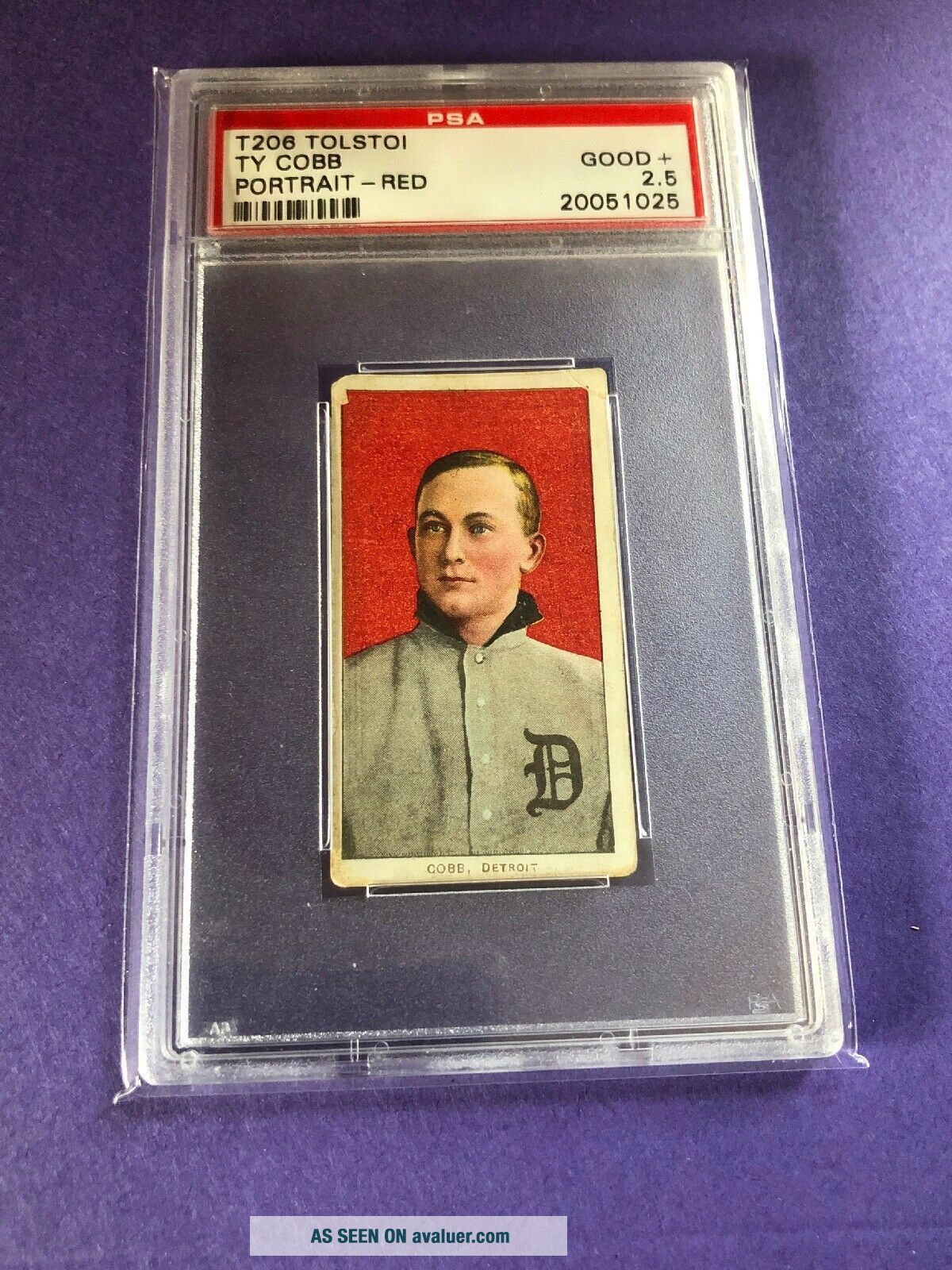 1909 - 11 T206 Ty Cobb RED PORTRAIT,  TOLSTOI PSA 2.  5 Good,  Rare Back