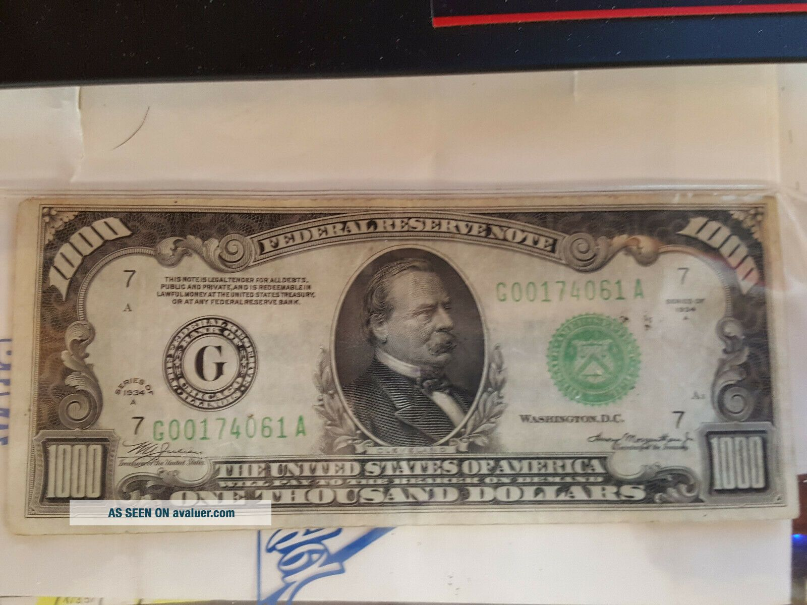 1934 $1000 One Thousand Dollar Bill Rare Chicago Currency Note