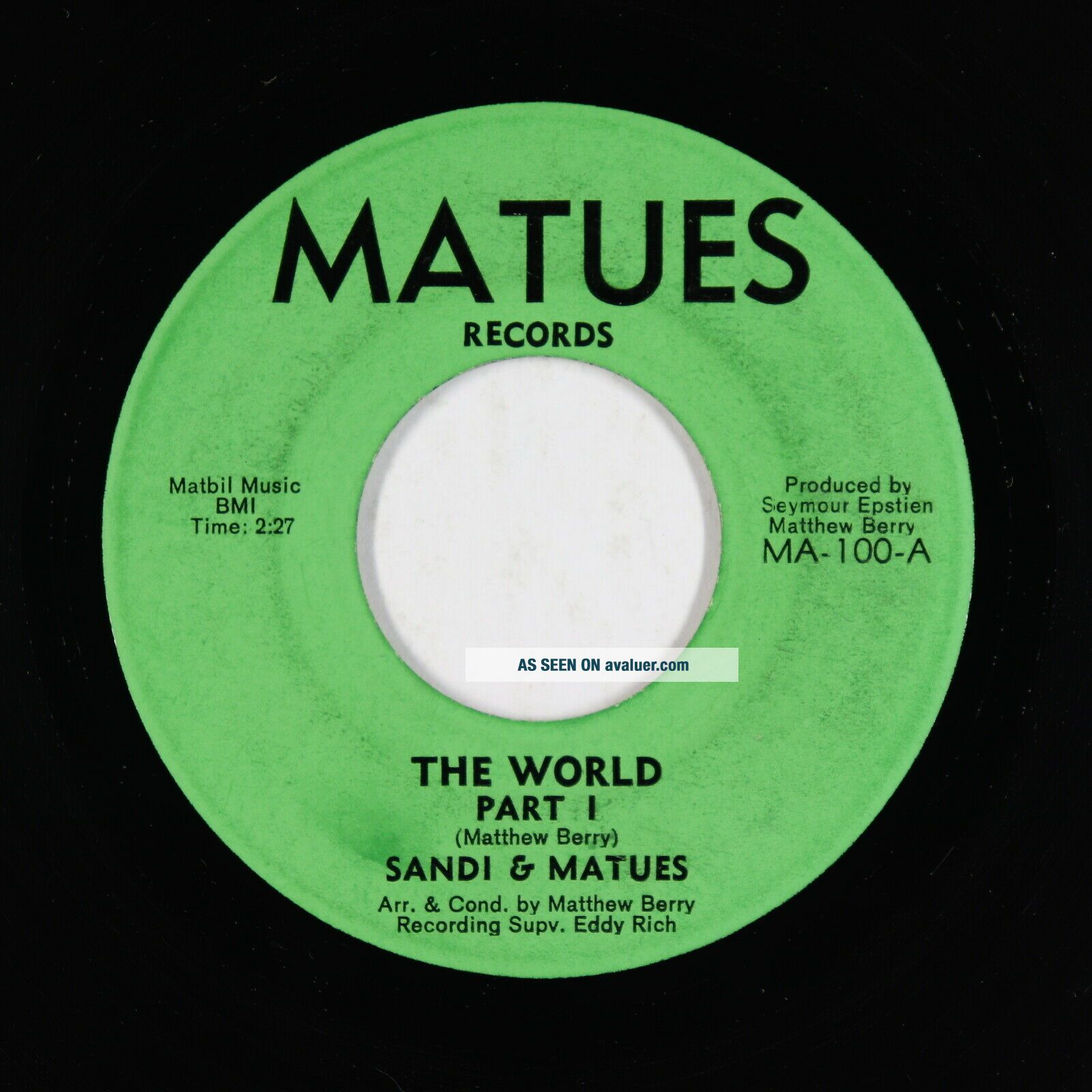 Funk 45 - Sandi & Matues - The World - Matues - VG,  mp3 - rare