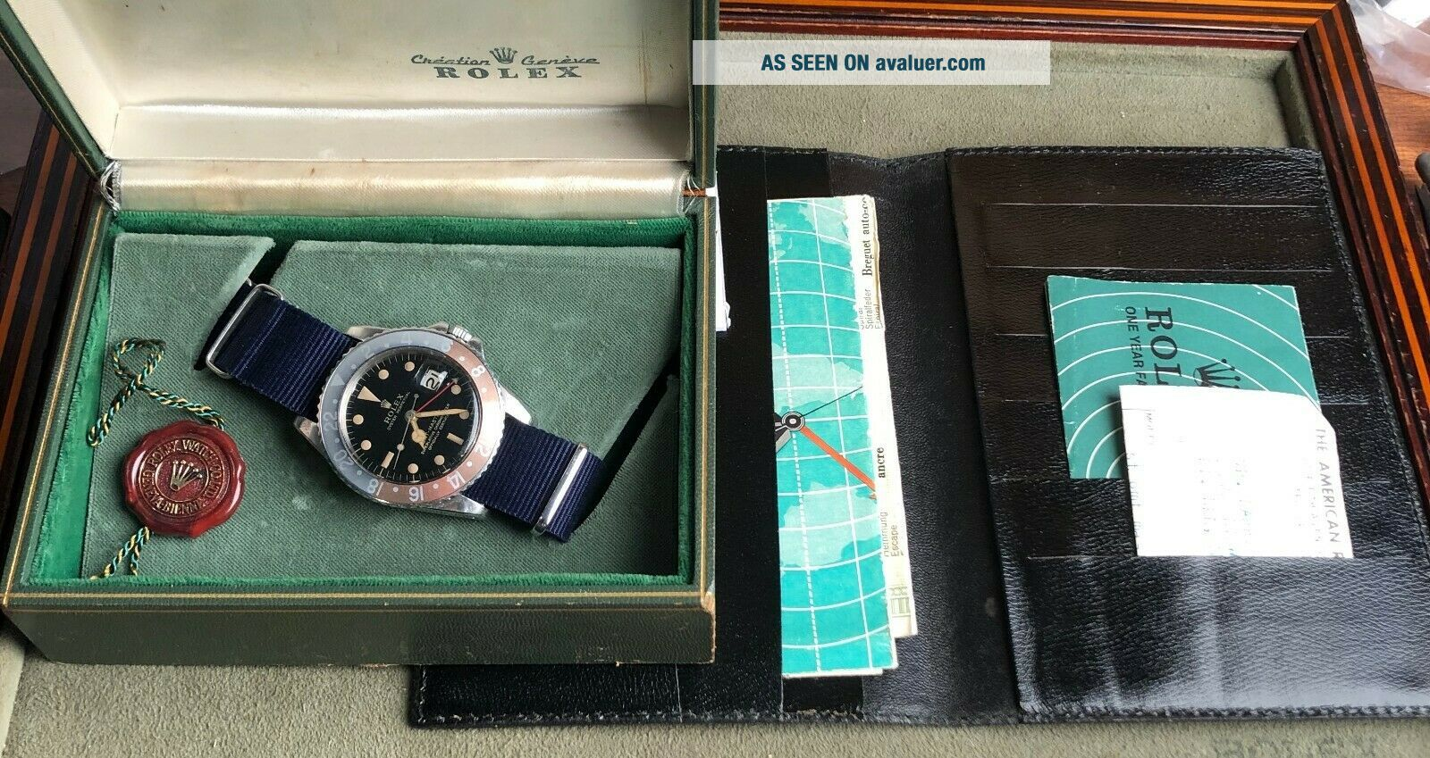 Vintage Rolex GMT Master 1675 Gilt Dial from 1960s full set Chrono Cert Punched