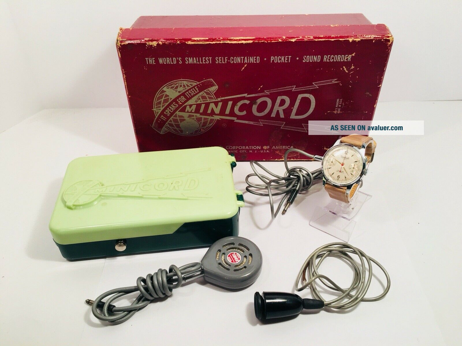 Vintage Minicord Wire Recorder With Hanhart Chrono Microphone Watch Spy Gear CIA