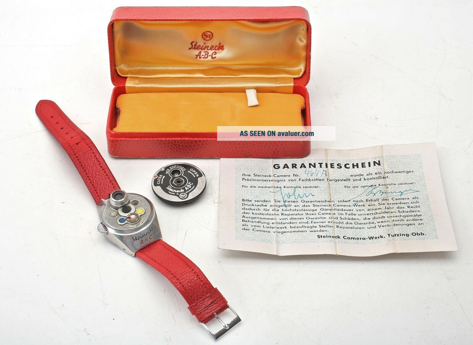 Steineck A - B - C Spy watch camera,  Red Strap,  Film,  Certificate,  Display Box,  RARE SET