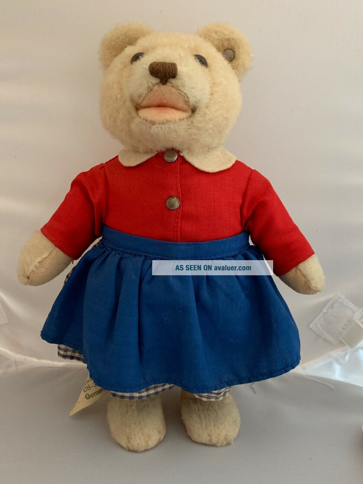 Rare 1950 ' s Vintage_hi antique Steiff Germany dressed TEDDYLI Girl Teddy Bear