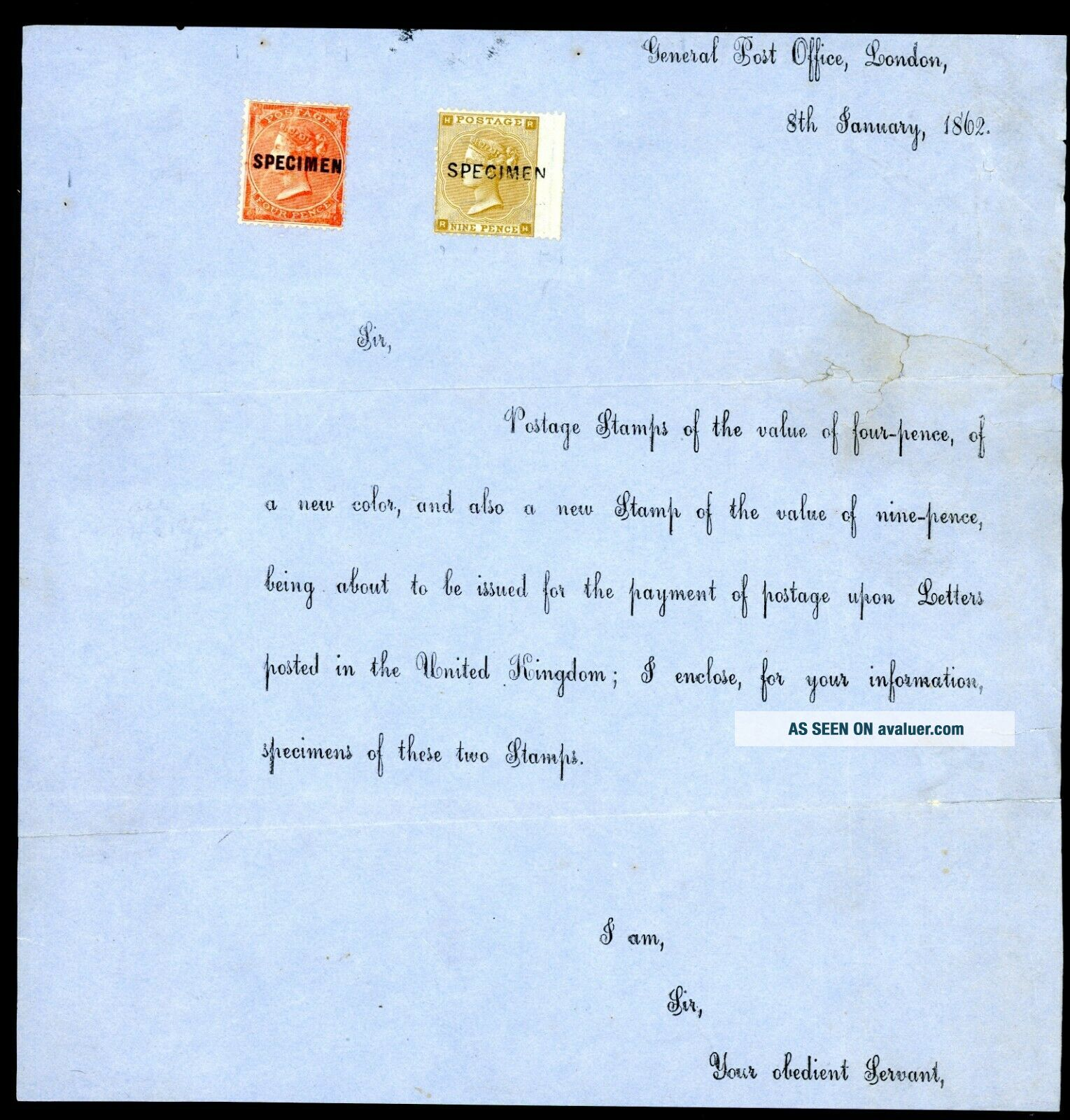 Rare Item GPO London 1867 Specimen 4d and 9d on Official Letter (M765)